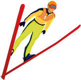 Ski jumper. Vectors illustration shows a ski jumper vector illustration
