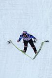 Ski jumper Anders JACOBSEN flies. ENGELBERG - DECEMBER 19: Ski jumper Anders JACOBSEN flies safely at FIS World Cup December 19, 2009 in Engelberg SUI. He came Stock Photo