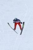 Ski jumper Mitja MEZNAR flies. ENGELBERG - DECEMBER 19: Ski jumper Mitja MEZNAR flies safely at FIS World Cup December 19, 2009 in Engelberg SUI. He came in 29th Royalty Free Stock Photography