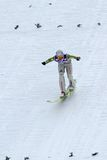 Ski jumper OKABE Takanobu lands. ENGELBERG - DECEMBER 19: Ski jumper OKABE Takanobu lands safely at FIS World Cup December 19, 2009 in Engelberg SUI. He did't Stock Photography