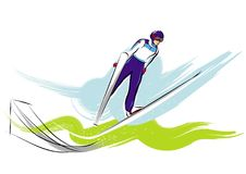 Ski jumper olympic games. A vector illustration of a ski jumper at the olympic games Stock Photography