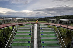 Ski jumping arena. And view tower in Lomnice nad Popelkou - Czech Republic stock image