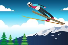 Ski Jumping Athlete in Competition Illustration. A vector illustration of Ski Jumping Athlete in Competition stock illustration