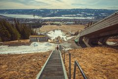 Olympic sport complex in Lillehammer. Norway. Panoramic view from the top. Ski jumping board in the city of Lillehammer. Host of the Olympics games in 1994 royalty free stock images