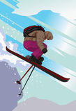Ski Jumping Down The Mountain Slope Stock Photo