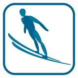 Ski jumping emblem. vector illustration