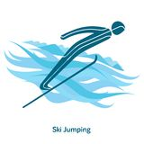 Winter games icon. Ski Jumping icon. Olympic species of events in 2018. Winter sports games icons,  pictograms for web, print and other projects. Vector Royalty Free Stock Photo