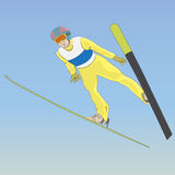 Ski jumping. A man in the air. Vector illustration Stock Photos