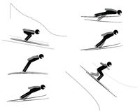 Ski jumping - pictogram set Stock Image