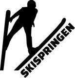 Ski jumping silhouette with german word. Vector Royalty Free Stock Image