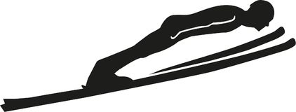Ski jumping silhouette. Vector sports Stock Photos