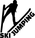 Ski jumping silhouette with word. Vector Stock Image