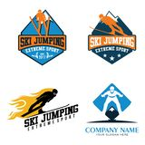 Ski Jumping Skiing Winter Sport Isolated Logo Emblem vector illustration