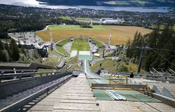 Ski jumping slope. A ski jumping slope seen from above, a jumper perspective. Lillehammer, Norway, summer scenery stock images