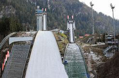Ski jumping stadium. Erdinger Arena. Oberstdorf, Bavaria, Germany. Stock Images