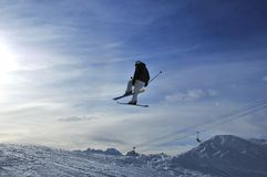 Ski jumping in the swiss alps Royalty Free Stock Photos