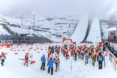 Ski jumping at the 2014 Winter Olympics was held at the RusSki Gorki Jumping Center. Nordic combined skiers get ready to start run stock images