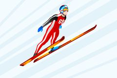 Ski Jumping Winter Sports. Ski jumping athlete winter sport man vector 3D isometric icon Royalty Free Stock Images