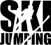 Ski jumping word with silhouette cutout. Vector Royalty Free Stock Images
