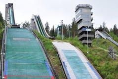 Ski Jumps in Rovaniemi Finland. Tree ski jumps in Rovaniemi Finland in the summer time summer Stock Photo