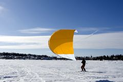 Ski kiting Photographie stock libre de droits