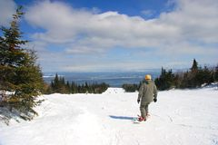 Ski at Le Massif. Panorama of one of the more beautiful ski resort in Quebec, Canada, Le Massif, located on the bank of the St-Lawrence river in the Charlevoix royalty free stock photography