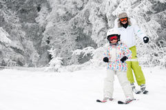 Ski lesson Royalty Free Stock Photo