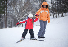 Ski lesson Stock Photo