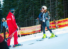 Ski lesson for adult Royalty Free Stock Photo