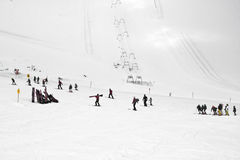 Ski lessons at Hintertux Glacier, Austria Stock Photography