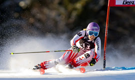 SKI: Lienz Giant Slalom. LIENZ, AUSTRIA 28 December 2009. Michaela Kirchgasser AUT speeds down the course while competing in the first run of the women's Audi Stock Photography