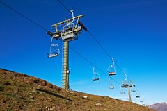 Ski lift. Tower under high mountains, Spain Stock Images