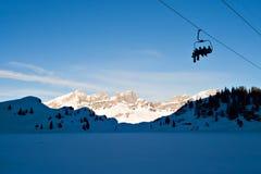 Ski Lift. Skiers on Ski Lift, on the Swiss Alps Stock Photos