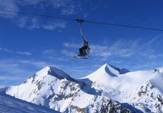 Ski lift. Towards mountain at Bansko ski resort Stock Photos