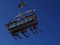 Ski Lift. Carrying skiers to the top Royalty Free Stock Photo