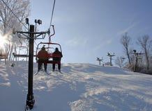 Ski Lift. Going up the ski lift Stock Photo