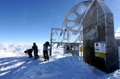 Ski lift. On a sunny cold day Stock Photo