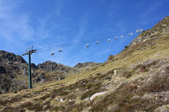 Ski Lift. View of a dry ski resort in the Andorran Pyrenees stock photo