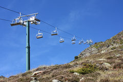 Ski Lift. View of a dry ski resort in the Andorran Pyrenees stock images