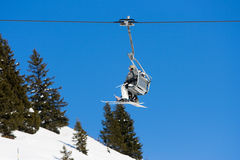 Ski lift. Going up the track Stock Image