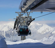 Ski Lift Against Panoramic View Of Mountain Range Stock Images
