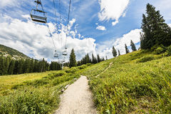 Ski Lift in Alpine Meadows in Albion Basin of Wasatch National Forest, Utah Royalty Free Stock Images