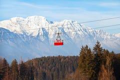 Ski lift in Alps, beautiful winter mountain landscape of Patscherkofel, Igls, Austria. Ski lift in Alps, beautiful winter mountain landscape of Patscherkofel Royalty Free Stock Photos