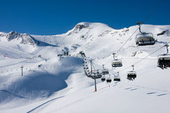 Ski lift in alps mountains Stock Photo