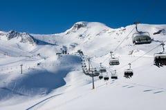 Ski lift in alps mountains Stock Photo