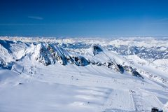 Ski lift in alps mountains Stock Image