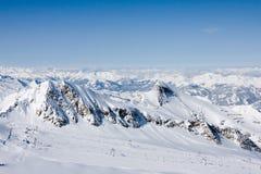 Ski lift in alps mountains Stock Photos