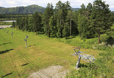 Ski lift in the Altai Mountains. Stock Image