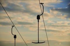 Ski lift anchor at sunset Stock Photos
