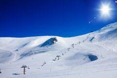 Ski lift in Andorra stock photos
